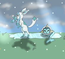 Glaceon and Vaporeon play by Kresa