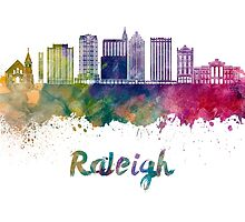 Raleigh V2 skyline in watercolor by paulrommer