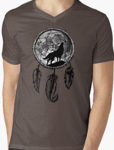Moon Wolf Dream Catcher Mens V-Neck T-Shirt