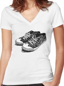 Old Sneakers Women's Fitted V-Neck T-Shirt