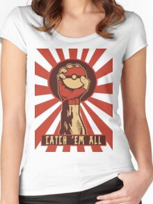 POKEMON PROPAGANDA: CATCH 'EM ALL Women's Fitted Scoop T-Shirt