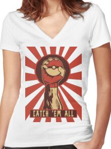 POKEMON PROPAGANDA: CATCH 'EM ALL Women's Fitted V-Neck T-Shirt