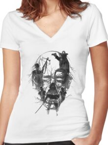 Walking face Women's Fitted V-Neck T-Shirt