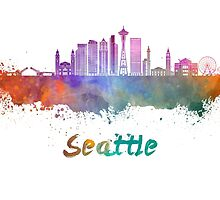 Seattle V2 skyline in watercolor by paulrommer