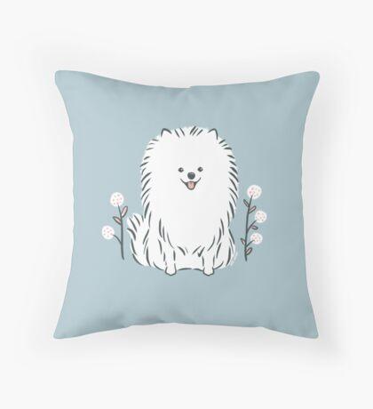 Pom Pom Puppy Dog - pomeranian white Throw Pillow