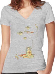 Fugu - T-shirt Women's Fitted V-Neck T-Shirt