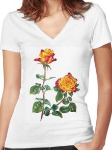 red yellow roses Women's Fitted V-Neck T-Shirt