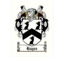 Hayes Coat of Arms (Donegal, Ireland) Art Print