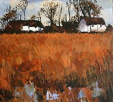 Cottages In Landscape by Terence  Kelly