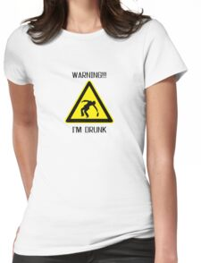 Drunk Warning Beer Funny T shirt Womens Fitted T-Shirt