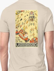 UNDERGROUND, VINTAGE, POSTER, The Lure of the Underground. Artist: Alfred Leete. Published by: Underground Electric Railway Company Ltd. Year: 1927. Unisex T-Shirt