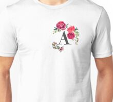 Floral Monogram Watercolor  Unisex T-Shirt