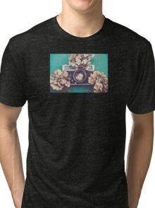 Camera & Hydrangea Tri-blend T-Shirt