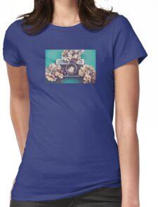 Camera & Hydrangea Womens Fitted T-Shirt