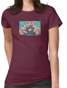 Camera & Hydrangea Womens Fitted T-Shirt