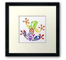 Colorful Tribal Art Frog  Framed Print