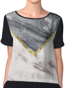 Beautiful Geometric Marble with gold vein Accent Chiffon Top
