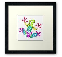 Bright Colorful Tribal Art Frog Framed Print