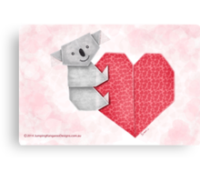 Cuddly Koala and Heart Origami Canvas Print