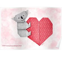 Cuddly Koala and Heart Origami Poster
