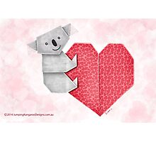 Cuddly Koala and Heart Origami Photographic Print