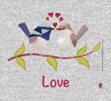 Adorable Blue Wren Birds in Love Kids Clothes