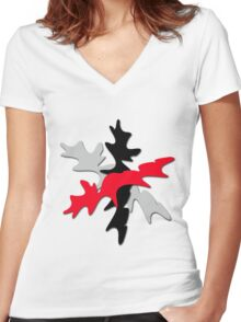 Gray, red, and black shape  Women's Fitted V-Neck T-Shirt
