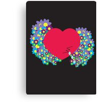 Crying Heart with Flowers Canvas Print