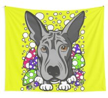 Wolf Dog Multi Coloured Mushrooms  Wall Tapestry