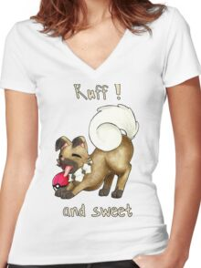 Rockruff - Ruff ! and sweet  Women's Fitted V-Neck T-Shirt