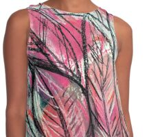 Disco Leaves Charcoal and Pastel Drawing Contrast Tank