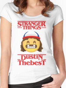 Stranger Things Poster Dustin Emoji The Best Women's Fitted Scoop T-Shirt