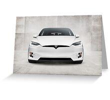 White 2017 Tesla Model X electric car front view art photo print Greeting Card