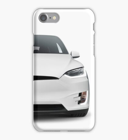 White 2017 Tesla Model X luxury SUV electric car front isolated art photo print iPhone Case/Skin