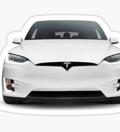 White 2017 Tesla Model X luxury SUV electric car front isolated art photo print Sticker