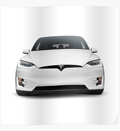 White 2017 Tesla Model X luxury SUV electric car front isolated art photo print Poster
