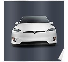 White 2017 Tesla Model X luxury SUV electric car front art photo print Poster