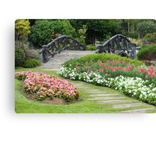 Floral Garden with Bridge and Path Canvas Print