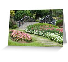 Floral Garden with Bridge and Path Greeting Card