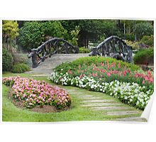 Floral Garden with Bridge and Path Poster