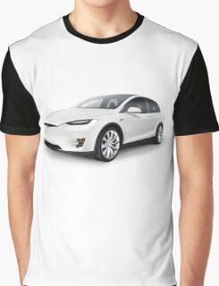White 2017 Tesla Model X luxury SUV electric car isolated art photo print Graphic T-Shirt