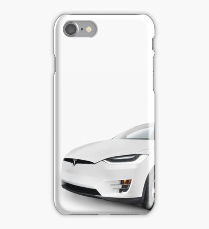 White 2017 Tesla Model X luxury SUV electric car isolated art photo print iPhone Case/Skin