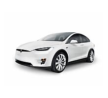 White 2017 Tesla Model X luxury SUV electric car isolated art photo print Photographic Print