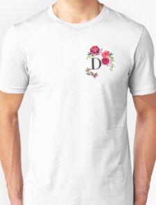 Floral Monogram Watercolor D Unisex T-Shirt