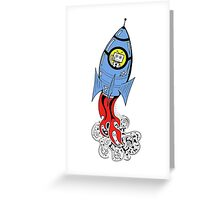 Happy Waving Robot in Rocket Greeting Card