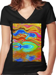 Psychedelic  Women's Fitted V-Neck T-Shirt