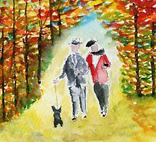 Scottie Dog 'Autumn Walk' Watercolour by archyscottie