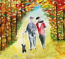 Scottie Dog 'Autumn Walk' Watercolour by archyscottie