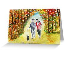 Scottie Dog 'Autumn Walk' Watercolour Greeting Card