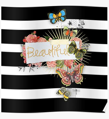 Whimsical,modern,trendy,pattern,butterflies,old and new,white,black,stripes,beautiful,gold text,typography Poster